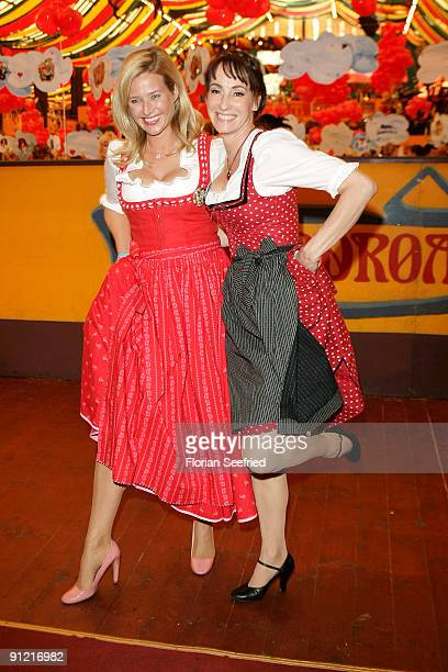 Sabine Kaefer and Anna Maria Kaufmann attend 'Regines Damenwiesn' at Hippodrom at the Theresienwiese on September 28 2009 in Munich Germany...