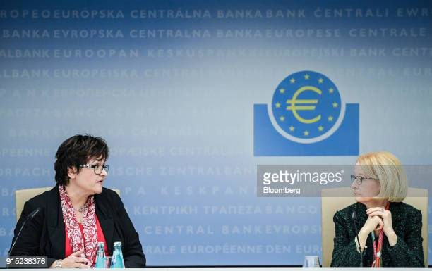 Sabine Lautenschlaeger executive board member of the European Central Bank left speaks as she sits beside Daniele Nouy head of the oversight arm at...