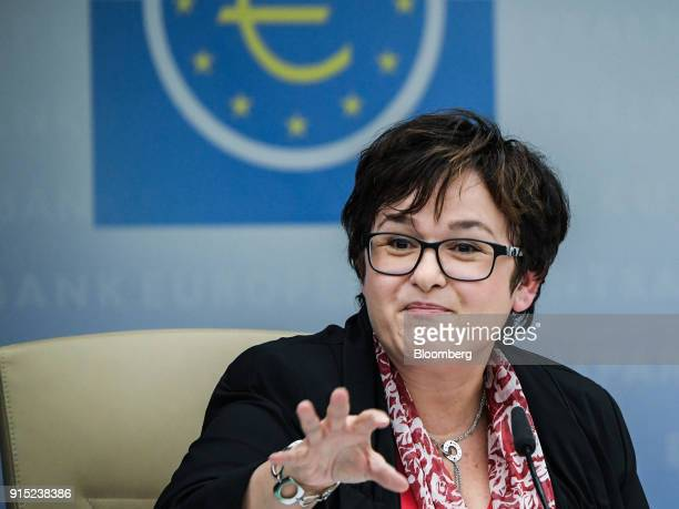 Sabine Lautenschlaeger executive board member of the European Central Bank gestures during the ECB's banking supervision news conference in Frankfurt...