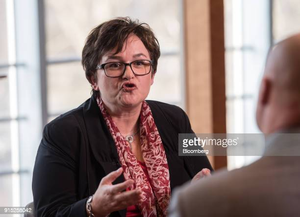 Sabine Lautenschlaeger executive board member of the European Central Bank gestures while speaking during a Bloomberg Television interview at the...