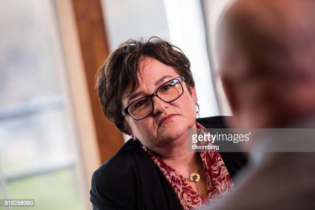 Sabine Lautenschlaeger executive board member of the European Central Bank pauses during a Bloomberg Television interview at the ECB's banking...