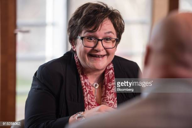 Sabine Lautenschlaeger executive board member of the European Central Bank speaks during a Bloomberg Television interview at the ECB's banking...