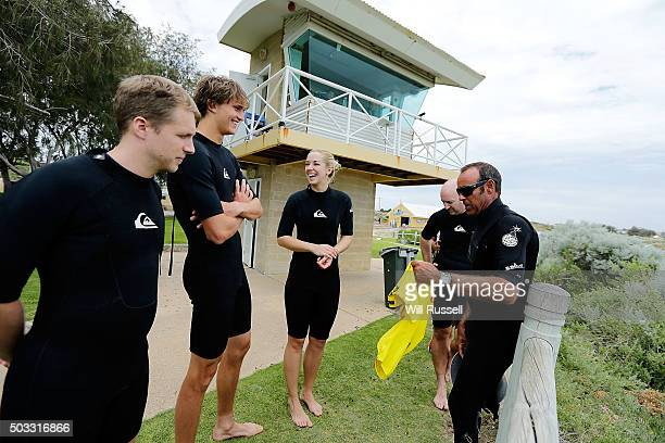 Sabine Lisicki Alexander Zverev of Germany and Oliver Pocher have a surfing lesson at Trigg beach during day two of the 2016 Hopman Cup at Perth...