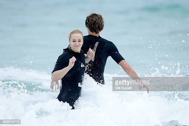 Sabine Lisicki and Alexander Zverev of Germany have a surfing lesson at Trigg beach during day two of the 2016 Hopman Cup at Perth Arena on January 4...