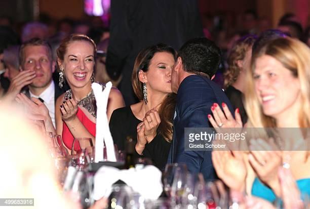 Sabine Lisicki, Anna Lewandowski and Robert Lewandowski during the Audi Generation Award 2015 at Hotel Bayerischer Hof on December 2, 2015 in Munich,...