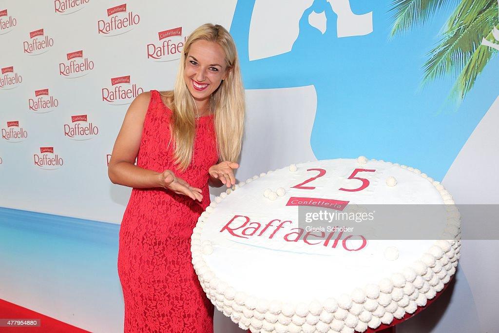 Sabine Lisicki at the birthday cake during the Raffaello Summer Day 2015 to celebrate the 25th anniversary of Raffaello on June 20, 2015 in Berlin, Germany.