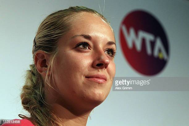 Sabine Lisicki of Germany answers reporters' questions during a press conference at the Porsche Tennis Grand Prix at Porsche Arena on April 19, 2011...