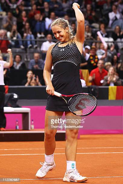 Sabine Lisicki of Germany celebrates after her match against Christina McHale of USA during the second day of the Fed Cup match between Germany and...