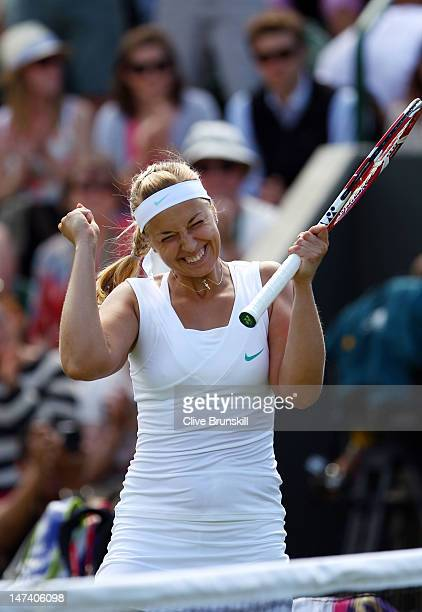 Sabine Lisicki of Germany celebrates match point during her Ladies' singles third round match against Sloane Stephens of USA on day five of the...