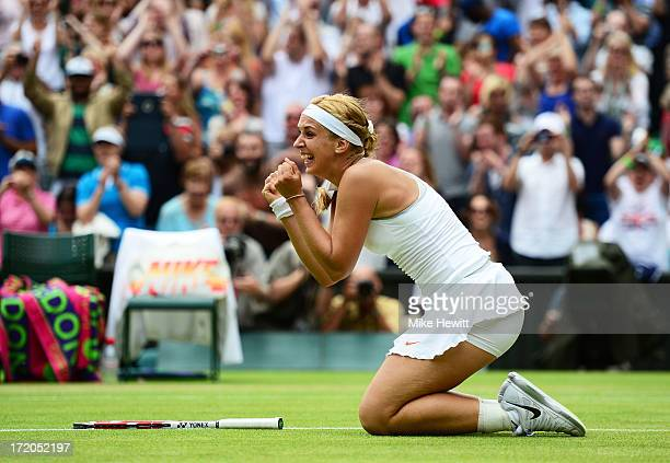 Sabine Lisicki of Germany celebrates match point during her Ladies' Singles fourth round match against Serena Williams of United States of America on...