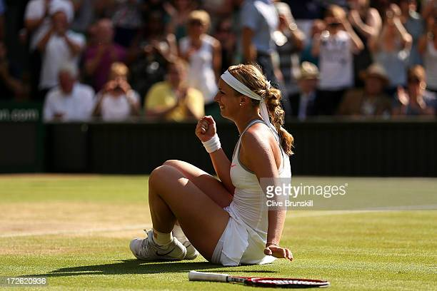 Sabine Lisicki of Germany celebrates victory during the Ladies' Singles semi final match against Agnieszka Radwanska of Poland on day ten of the...