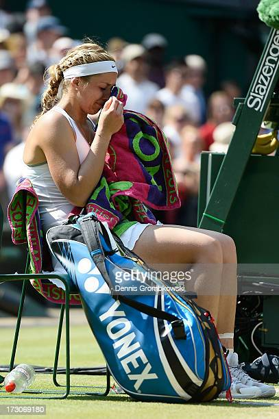Sabine Lisicki of Germany cries after her Ladies' Singles final match against Marion Bartoli of France on day twelve of the Wimbledon Lawn Tennis...
