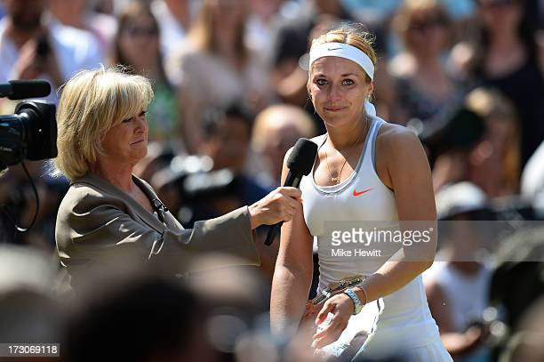 Sabine Lisicki of Germany cries during a postmatch interview with Sue Barker on Centre Court after her Ladies' Singles final match against Marion...
