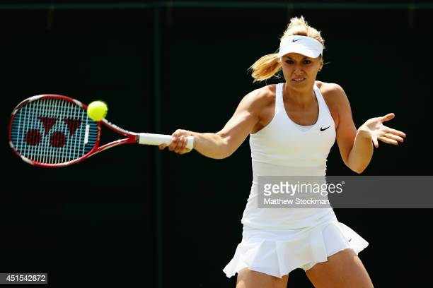 Sabine Lisicki of Germany during her Ladies' Singles fourth round match against Yaroslava Shvedova of Kazakhstan on day eight of the Wimbledon Lawn...