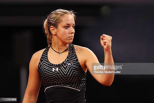 Sabine Lisicki of Germany gestures during her match against Christina McHale of USA during the second day of the Fed Cup match between Germany and...