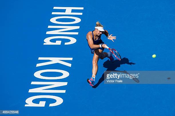 Sabine Lisicki of Germany in action against Karolina Pliskova of Czech Republic duting the Hong Kong Tennis Open final match on September 14, 2014 in...
