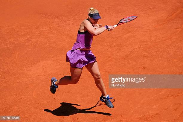 Sabine Lisicki of Germany in action Carla Suarez of Spain their match during day fourth of the Mutua Madrid Open tennis tournament at the Caja Magica...