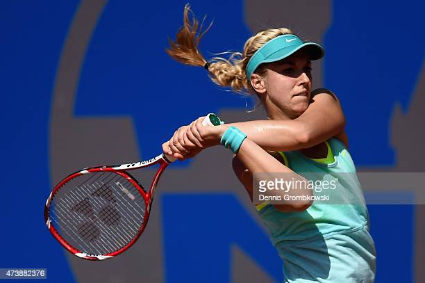Sabine Lisicki of Germany plays a backhand in her match against Silvia SolerEspinosa of Spain during Day Three of the Nuernberger Versicherungscup...