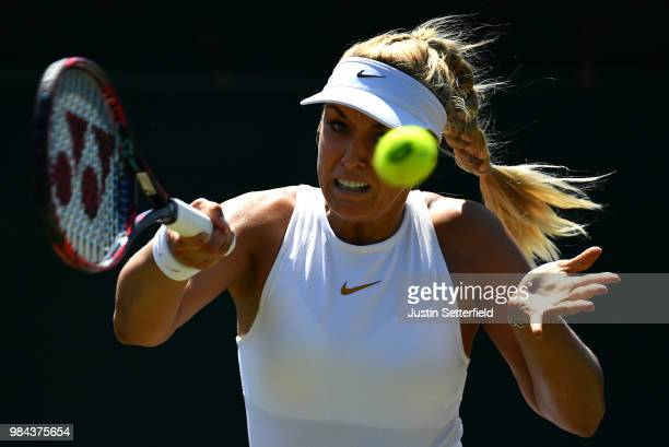 Sabine Lisicki of Germany plays a forehand against Anna Kalinskaya of Russia during Wimbledon Championships Qualifying Day 2 at The Bank of England...