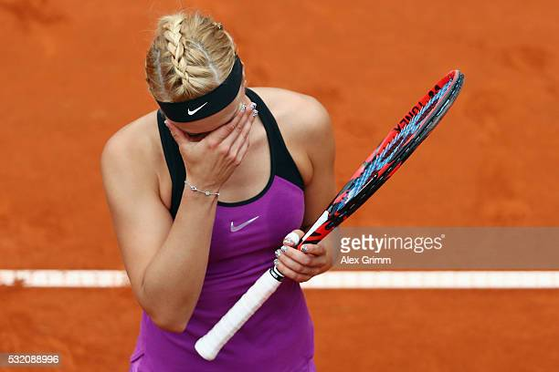 Sabine Lisicki of Germany reacts during her match against Varvara Lepchenko of USA during day five of the Nuernberger Versicherungscup 2016 on May 18...