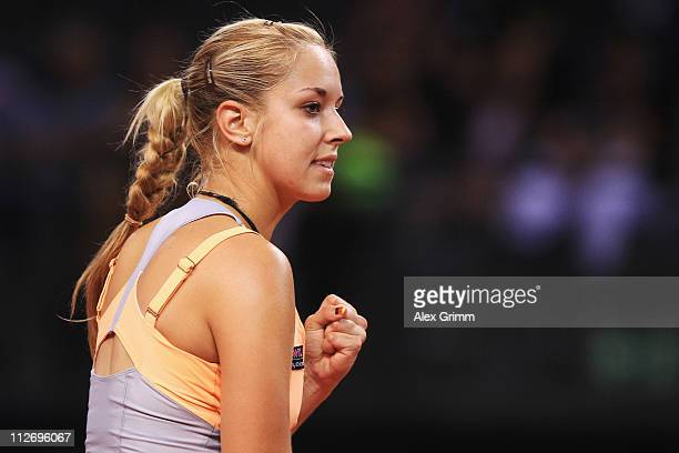 Sabine Lisicki of Germany reacts during her second round match against Na Li of China at the Porsche Tennis Grand Prix at Porsche Arena on April 20,...