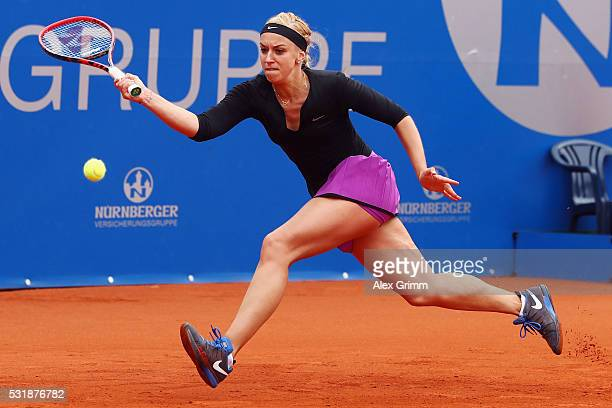 Sabine Lisicki of Germany returns the ball to Laura Arruabarrena of Spain during day four of the Nuernberger Versicherungscup 2016 on May 17 2016 in...