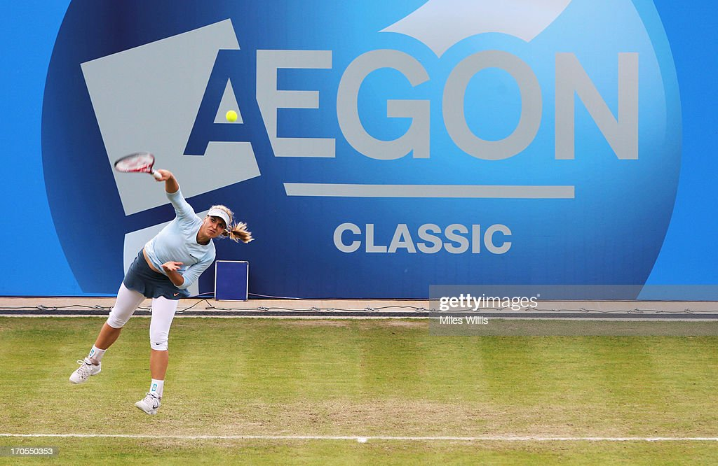 Sabine Lisicki of Germany serves in her Women's Singles third round match against Mirjana Lucic-Baroni of Croatia during day five of the AEGON Classic tennis tournament at Edgbaston Priory Club on June 13, 2013 in Birmingham, England.