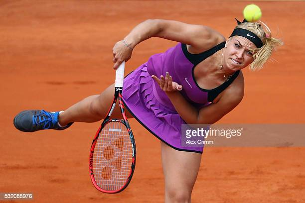 Sabine Lisicki of Germany serves the ball to Varvara Lepchenko of USA during day five of the Nuernberger Versicherungscup 2016 on May 18 2016 in...