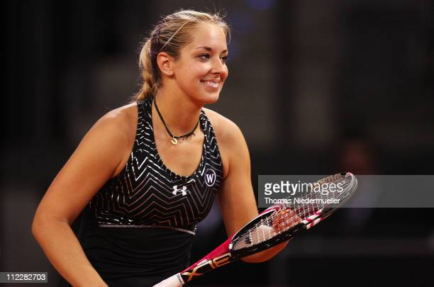 Sabine Lisicki of Germany smiles during her match against Christina McHale of USA during the second day of the Fed Cup match between Germany and...