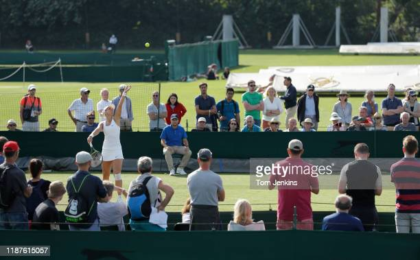 Sabine Lisicki of Germany, the 2013 Wimbledon finalist, serves during her victory over Ankita Raina of India on Court 13 in the second round of...