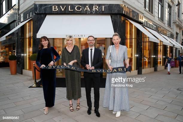 Sabine Lourimi Nadja Auermann Bart de Boever and Lilly zu SaynWittgensteinBerleburg during the Bulgari boutique opening on April 19 2018 in Hamburg...