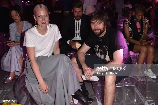 Sabine Marcelis and Francesco Vezzoli attend Prada Men's Spring/Summer 2019 Fashion Show on June 17 2018 in Milan Italy