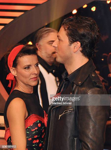 Sabine Petzl and Thomas Kraml pose during the 'Dancing Stars' TV show in Vienna at ORF Zentrum on April 29 2016 in Vienna Austria
