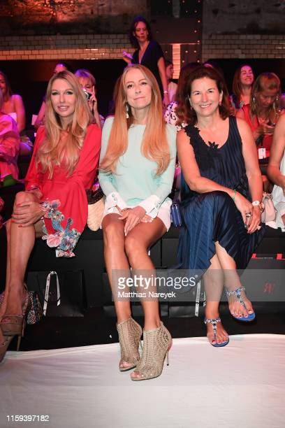 Sabine Piller, Jenny Elvers and Claudia Obert attend the Lana Mueller show during the Berlin Fashion Week Spring/Summer 2020 at ewerk on July 01,...