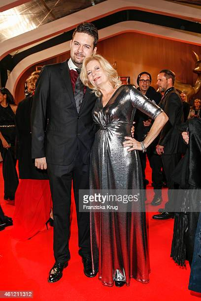 Sabine Postel and her son Moritz Riewoldt arrive at the Bambi Awards 2014 on November 13 2014 in Berlin Germany