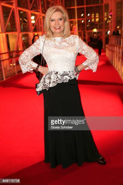 Sabine Postel wearing a dress by Minx during the Goldene Kamera reception at Messe Hamburg on March 4 2017 in Hamburg Germany