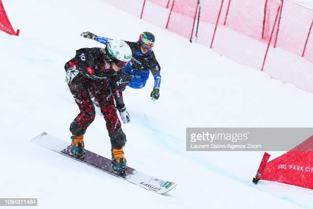Sabine Schoeffmann of Austria competes Nadya Ochner of Italy competes during the FIS World Snowboard Championships Men's and Women's Parallel Slalom...