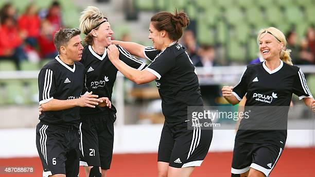 Sabine Stuermer of SG Dirmingen celebrate the decisive goal with team mates during the DFB Women's Over35 Cup final against Tennis Borussia Berlin on...