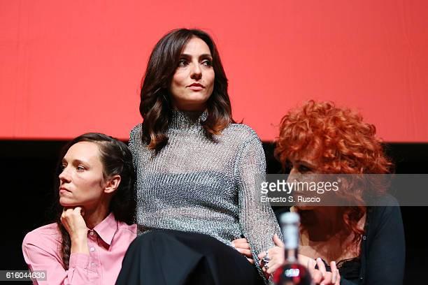 Sabine Timoteo Ambra Angiolini and Fiorella Mannoia attend a press conference for '7 Minuti' during the 11th Rome Film Festival at Auditorium Parco...