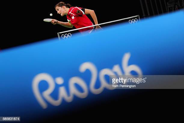 Sabine Winter of Germany practices during a training session for table tennis at Riocentro Pavilion 3 on August 4 2016 in Rio de Janeiro Brazil