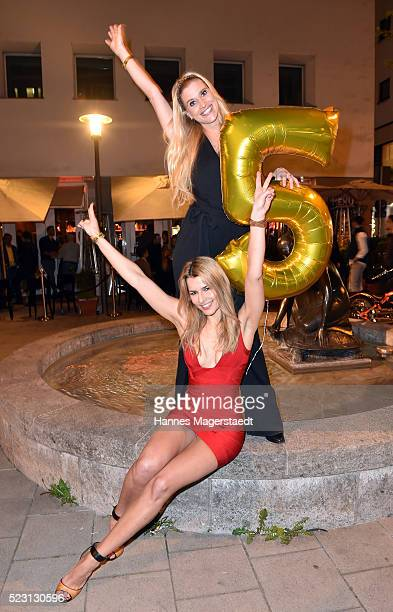 Model AnnaMaria Kagerer and SabineMarie Schmidt during 'MIURA Restaurant Celebrates 5th Anniversary' on April 21 2016 in Munich Germany