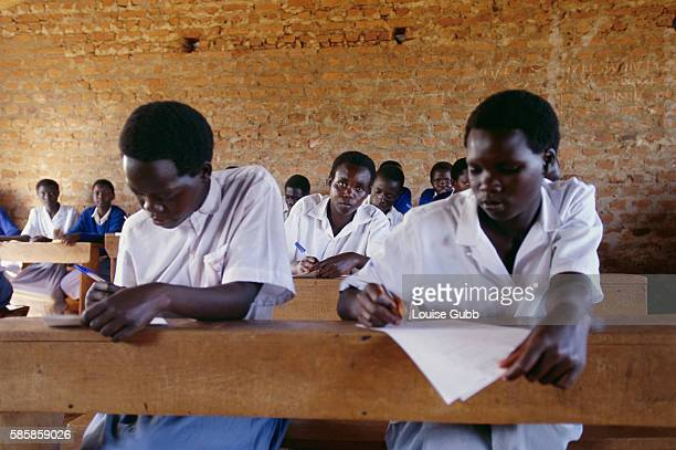 Sabiny girls study in a classroom in Kapchorwa Uganda