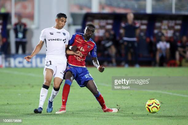 Sabir Bougrine of Paris FC and Mayoro Ndoye Baye of Gazelec during the Ligue 2 match between Gazelec Ajaccio and Paris FC at Stade Ange Casanova on...