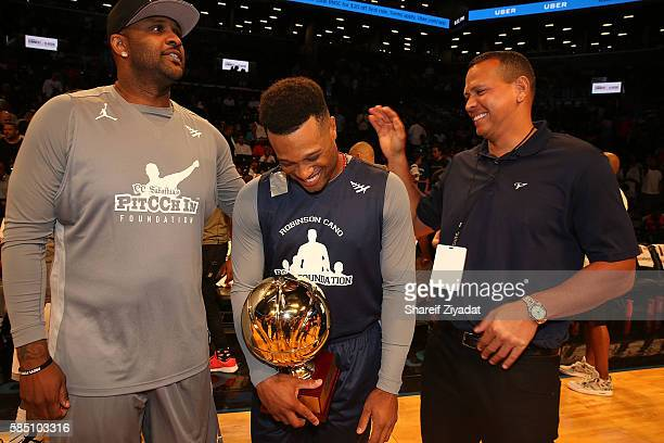 Sabithia Robinson Cano and Alex Rodriguez attend 2016 Roc Nation Summer Classic Charity Basketball Tournament at Barclays Center of Brooklyn on July...