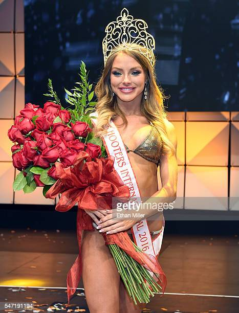 Sable Jade Robbert of Fort Lauderdale Florida poses after being crowned Miss Hooters International 2016 during the 20th annual Hooters International...