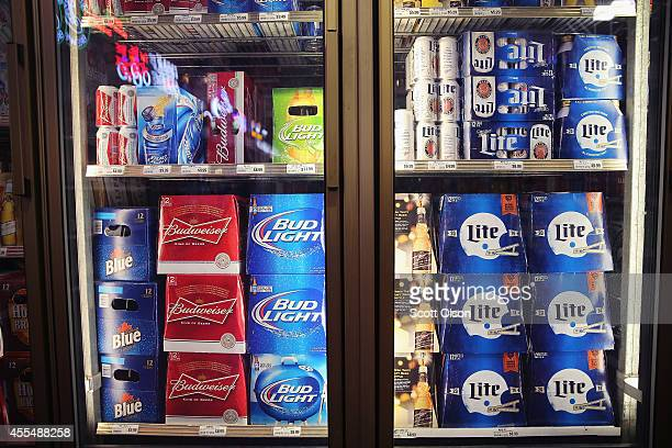 SABMiller and Anheuser-Busch InBev products are offered for sale on September 15, 2014 in Chicago. Illinois. Share of SABMiller have surged to an...