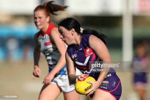 Sabreena Duffy of the Dockers looks to pass the ball during the round five AFLW match between the Fremantle Dockers and the Western Bulldogs at...