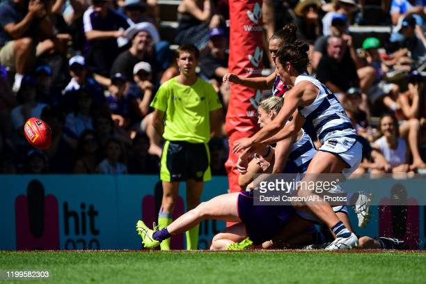 Sabreena Duffy of the Dockers soccers the ball for a goal during the 2020 AFLW Round 01 match between the Fremantle Dockers and the Geelong Cats at...