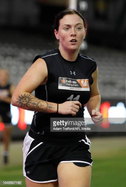 Sabreena Duffy performs in the 2km time trial during the AFLW Draft Combine at Marvel Stadium on October 3 2018 in Melbourne Australia