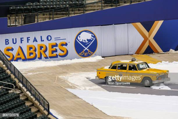 Sabres logo and taxi cab displayed during practice for the the New York Rangers and Buffalo Sabres Winter Classic NHL game on December 31 at Citi...